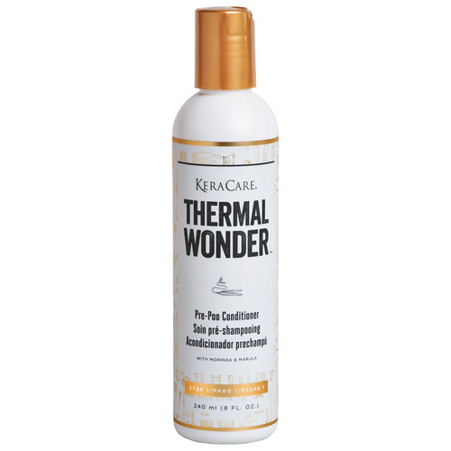 An 8oz bottle of KeraCare Thermal Wonder Pre-Poo Conditioner