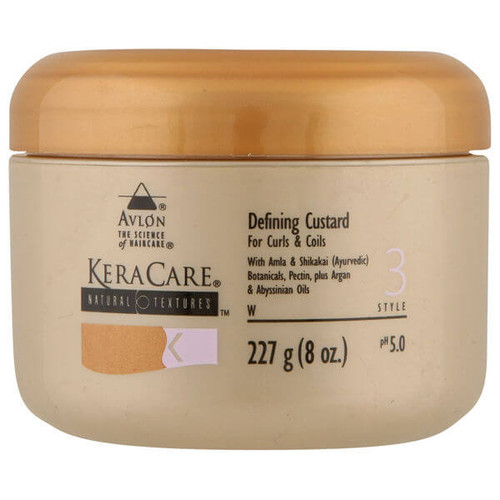An 8oz jar of KeraCare Natural Textures  Defining Custard (For Curls & Coils)
