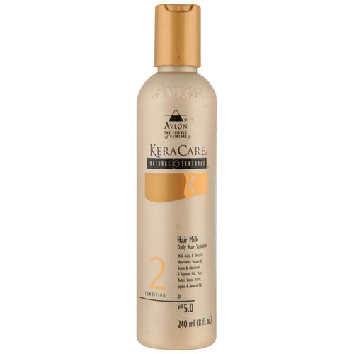 An 8oz bottle of KeraCare Natural Textures Hair Milk (Daily Hair Sustainer)
