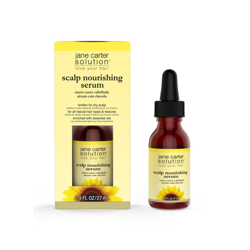 A 2oz bottle of Jane Carter Solution  Scalp Nourishing Serum with its packaging