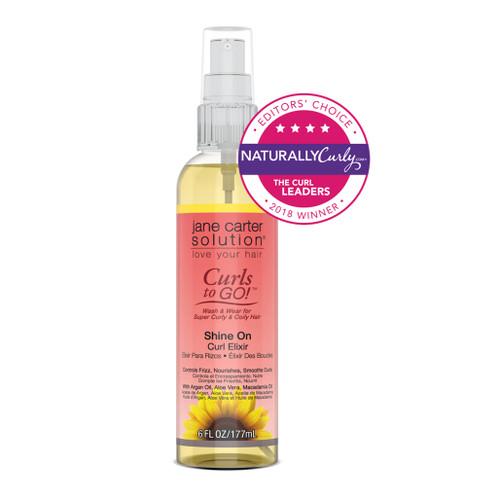 A 6oz bottle of Jane Carter Solution Curls to Go Shine On Curl Elixir