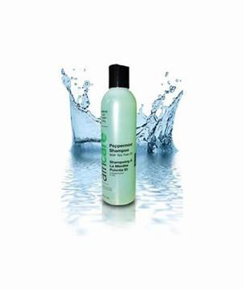An 8oz bottle of Africare Peppermint Shampoo with Tea Tree Oil