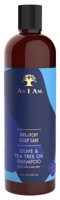 A 12oz bottle of As I Am Dry & Itchy Scalp Care Olive & Tea Tree Oil Shampoo