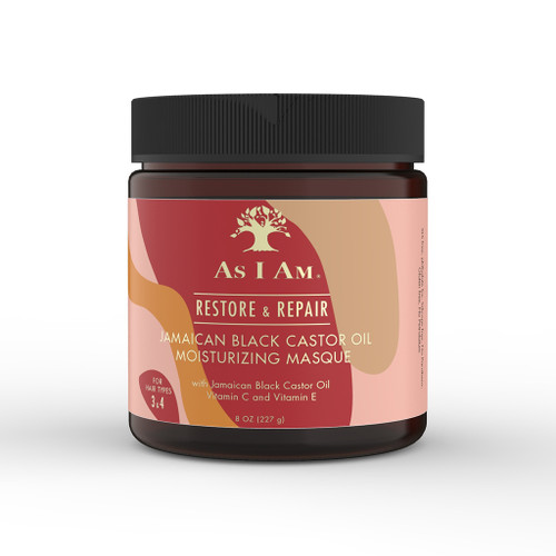 An 8oz jar of As I Am Jamaican Black Castor Oil Moisturizing Masque