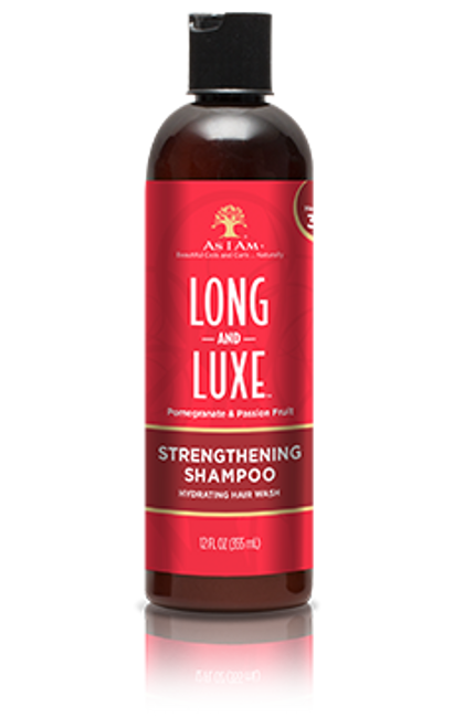 A 12oz bottle of As I Am Strengthening Shampoo