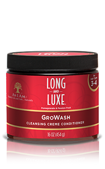 A 16oz As I Am Long and Luxe GroWash Cleansing Creme Conditioner