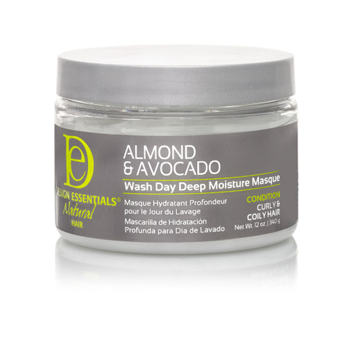 A 12oz jar of Design Essentials Almond & Avocado Wash Day Deep Moisture Masque