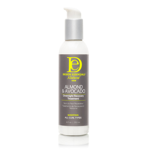 A 6oz bottle of Design Essentials Almond & Avocado Overnight Recovery Treatment