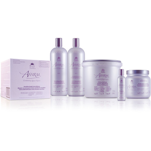 A selection of products from the Affirm Dry & Itchy Scalp Conditioning Relaxer Kit