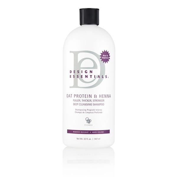 A 32oz bottle of Design Essentials Oat Protein & Henna Deep Cleansing Shampoo