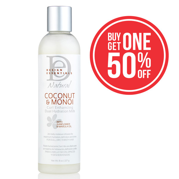 An 8oz bottle of Design Essentials Coconut & Monoi Curl Enhancing Dual Hydration Milk