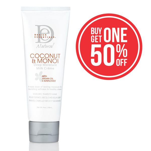 A 4oz bottle of Design Essentials Coconut & Monoi Deep Moisture Milk Creme