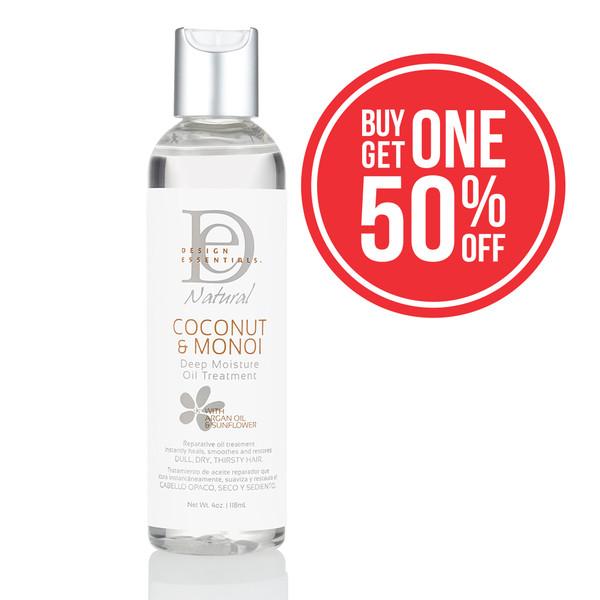 A 4oz bottle of Design Essentials Coconut & Monoi Deep Moisture Oil Treatment