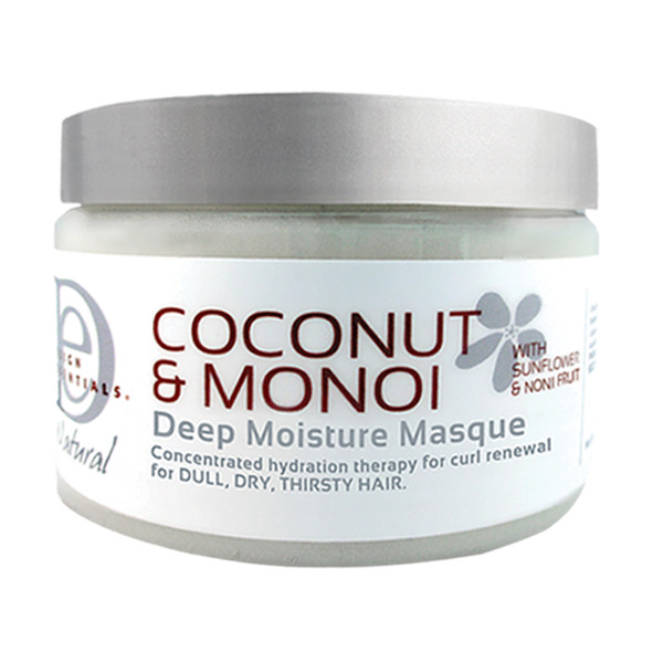 An 8oz bottle of Design Essentials Coconut & Monoi Deep Moisture Masque