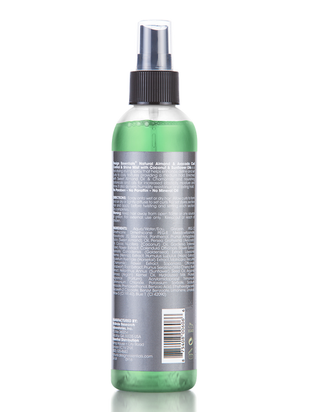 An 8oz bottle of Design Essentials Almond Avocado Curl Control Shine Mist - the back of the bottle