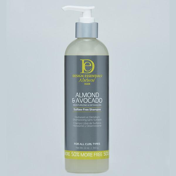 A 12oz bottle of Design Essentials Natural Almond & Avocado Moisturizing & Detangling Sulfate Free Shampoo