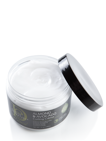 A 12oz bottle of Design Essentials Almond & Avocado Curling Creme that has been opened