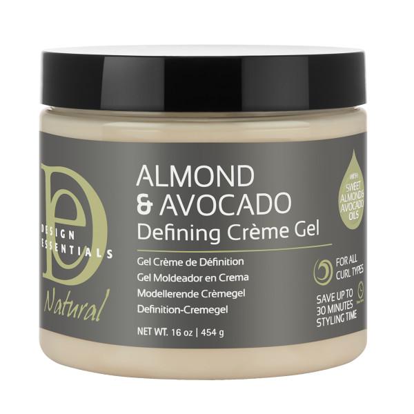 A 16oz jar of Design Essentials Almond & Avocado Curl Defining Creme Gel