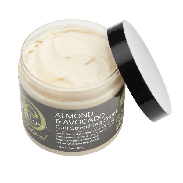 An open jar of Design Essentials Almond & Avocado Curl Stretching Cream