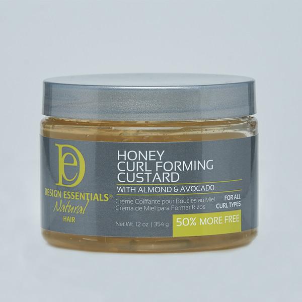 A 6oz jar of Design Essentials Almond & Avocado Natural Honey Curl Forming Custard