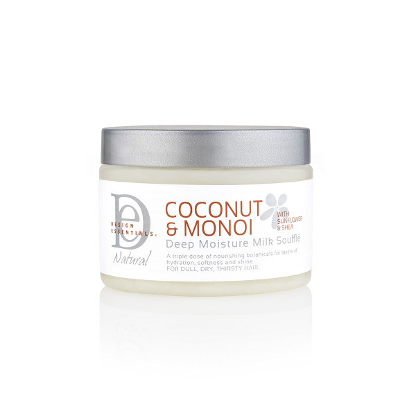 An 8oz jar of Design Essentials Coconut & Monoi Deep Moisture Milk Soufflé