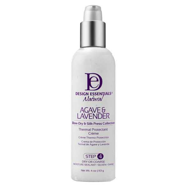 A 4oz bottle of Design Essentials Agave & Lavender Thermal Protectant Creme