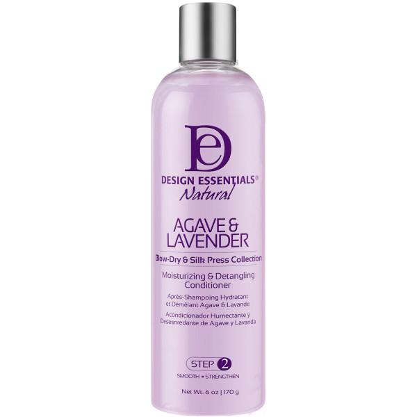 A 12 oz bottle of Design Essentials Agave & Lavender Moisturizing & Detangling Conditioner