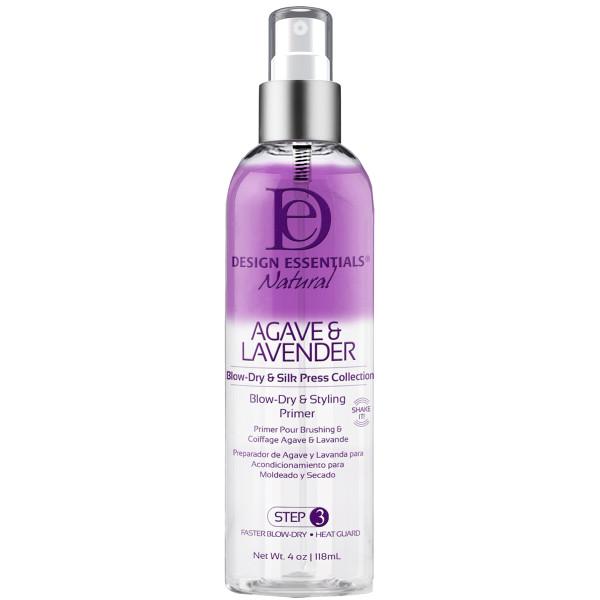 An 8oz bottle of Design Essentials Agave & Lavender Blowdry & Styling Primer