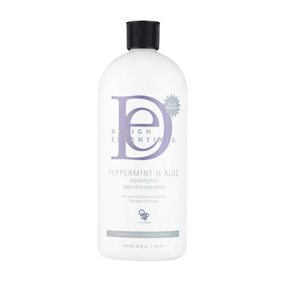 A 32oz refill bottle of  Design Essentials Peppermint & Aloe Therapeutics Anti-Itch Shampoo