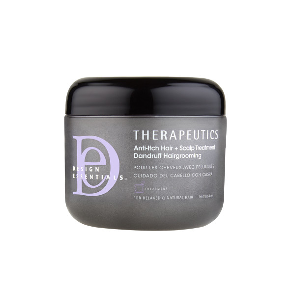 A bottle of Design Essentials Therapeutics Anti-Itch Hair and Scalp Treatment