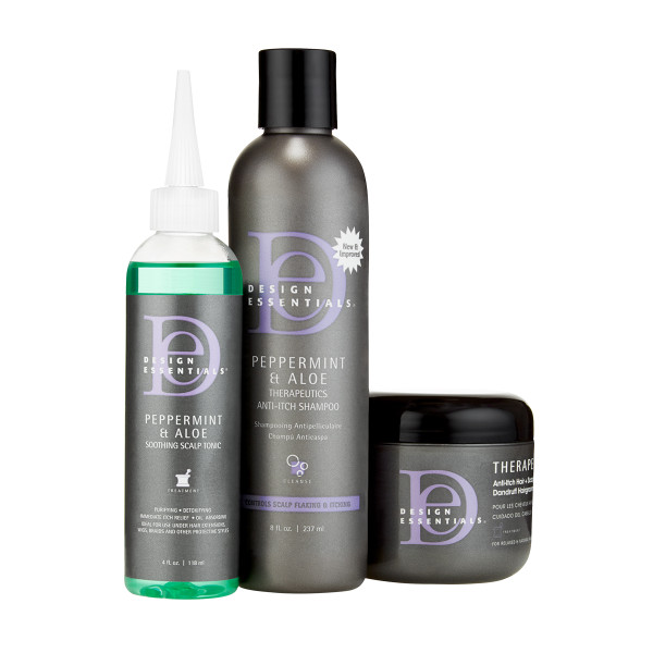 The Design Essentials Peppermint & Aloe Soothing Scalp Care Relief hair kit selection