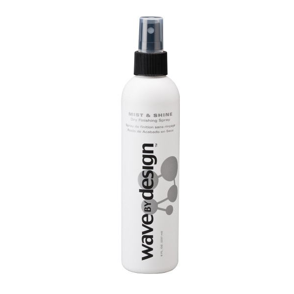 An 8oz bottle of Wave By Design Mist & Shine Dry Finishing Spray