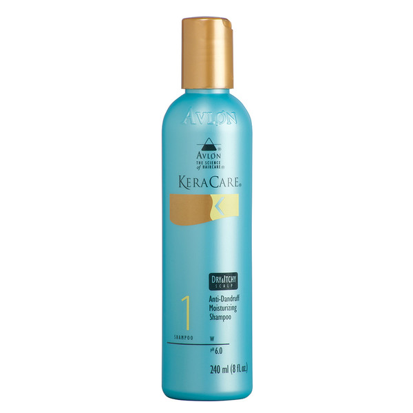 An 8oz bottle of KeraCare Dry & Itchy Scalp Anti-Dandruff Moisturizing Shampoo
