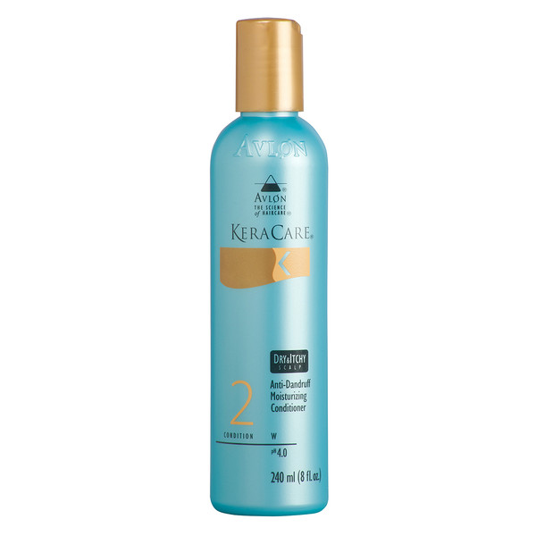 An 8oz bottle of KeraCare Dry & Itchy Scalp Anti-Dandruff Moisturizing Conditioner