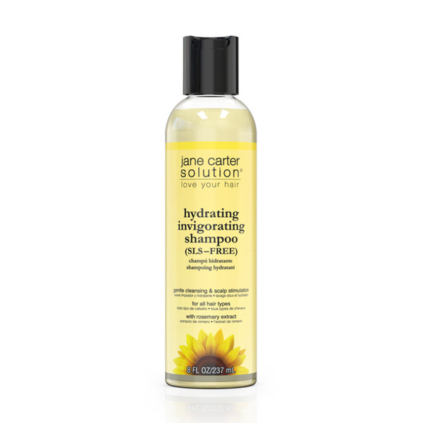 An 8oz bottle of Jane Carter Solution Hydrating Invigorating Shampoo