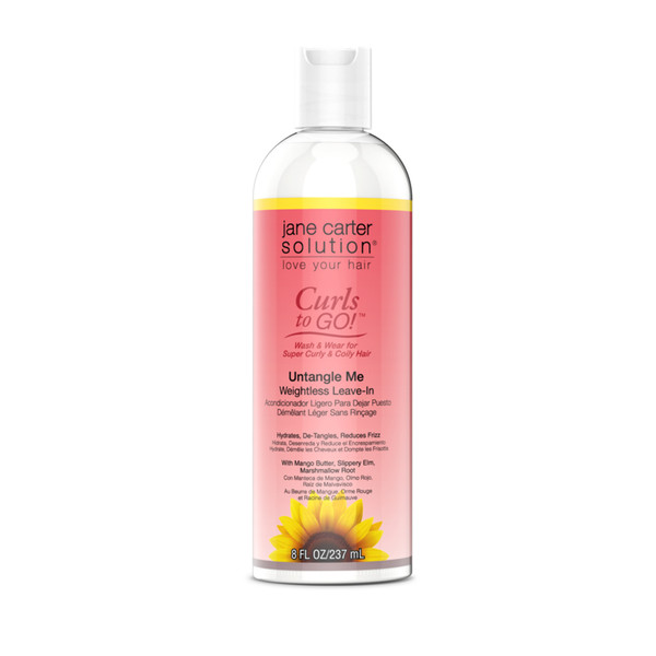 An 8oz bottle of Jane Carter Solution Curls to Go Untangle Me Weightless Leave In Conditioner