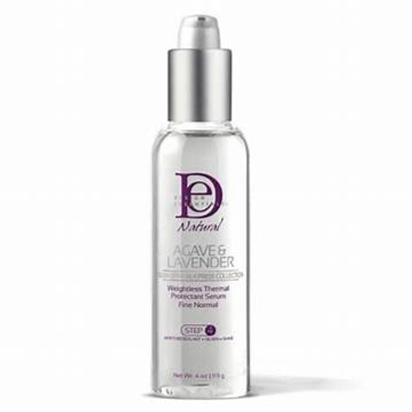 A 4oz bottle of Design Essentials Agave & Lavender Thermal Serum
