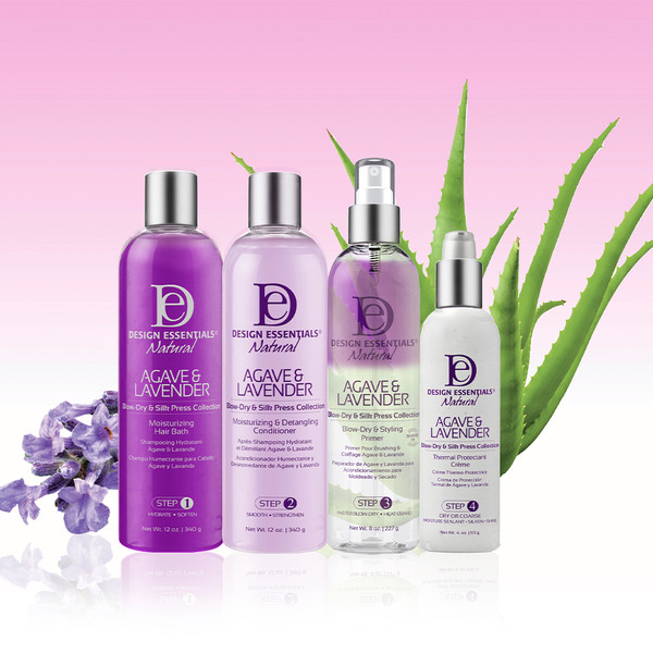 A group photo of the Design Essentials Silk Press Agave & Lavender Collection