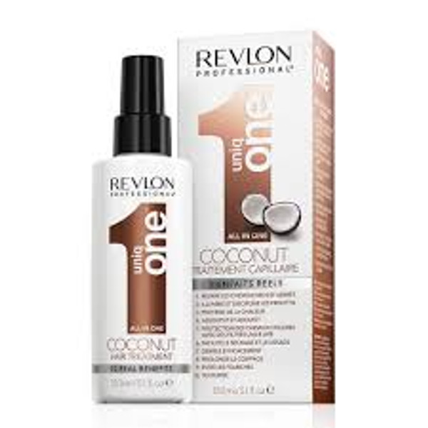 A box of Revlon Uniq One All-In-One Hair Treatment - Coconut