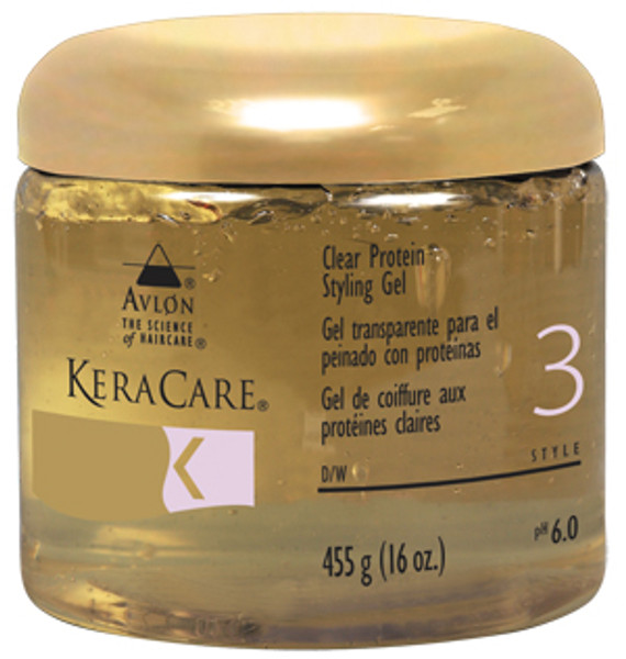 A 16oz jar of KeraCare Protein Styling Gel - Clear