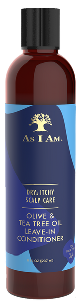 An 8oz bottle of As I Am Dry & Itchy Scalp Care Leave-In Conditioner