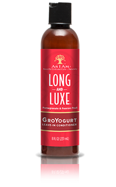An 8oz bottle of As I Am Long and Luxe GroYogurt Leave-In Conditioner