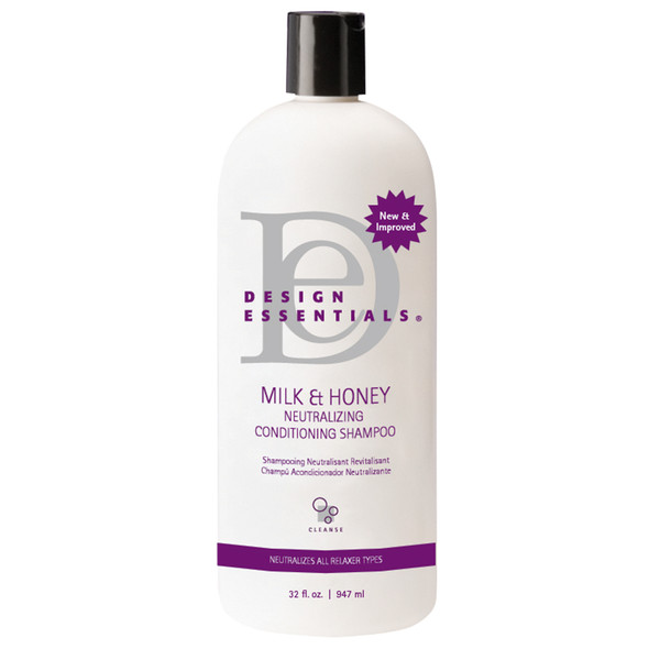 A 32oz bottle of Design Essentials Milk & Honey 6N1 Reconstructive Conditioner