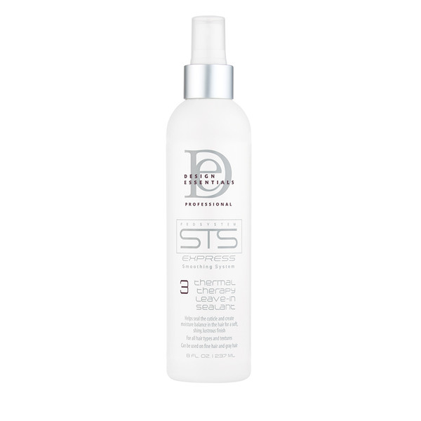 An 8oz bottle of Design Essentials STS Express Thermal Therapy Leave-In and Sealant