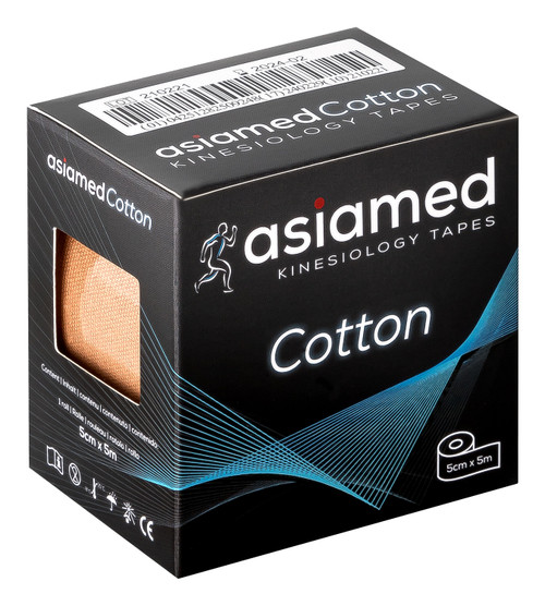 asiamed kinesiology tape made from cotton fiber measures 5cm by 5m or 2 inches by 17 feet