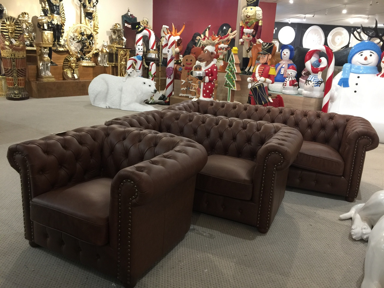 Chesterfield Italian Leather Match Sofa Set Of 3