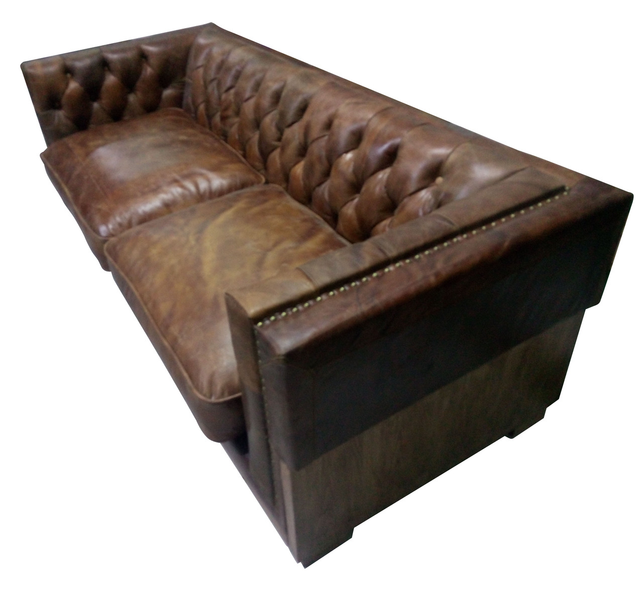 Georgetown Leather Rustic WoodSofa