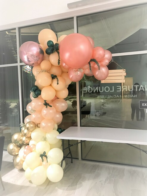 10 FT Organic Balloon Garland with floral accents -6 Color