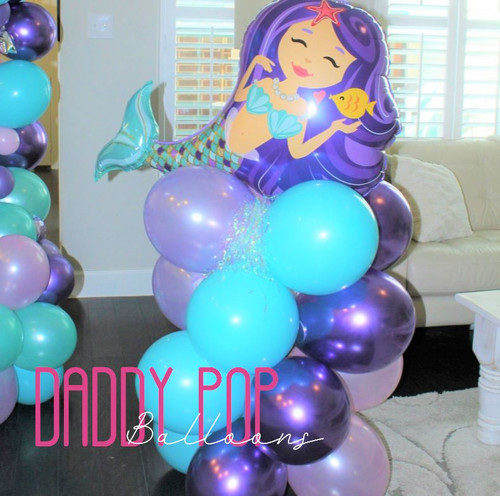 4FT balloon column, 4 color with foil topper