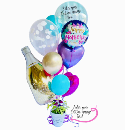 The Proud Big Mama comes with customization on the large clear balloon as well as customization on the flower pot!
